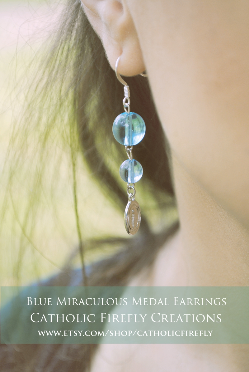 bluemiraculousmedalearrings
