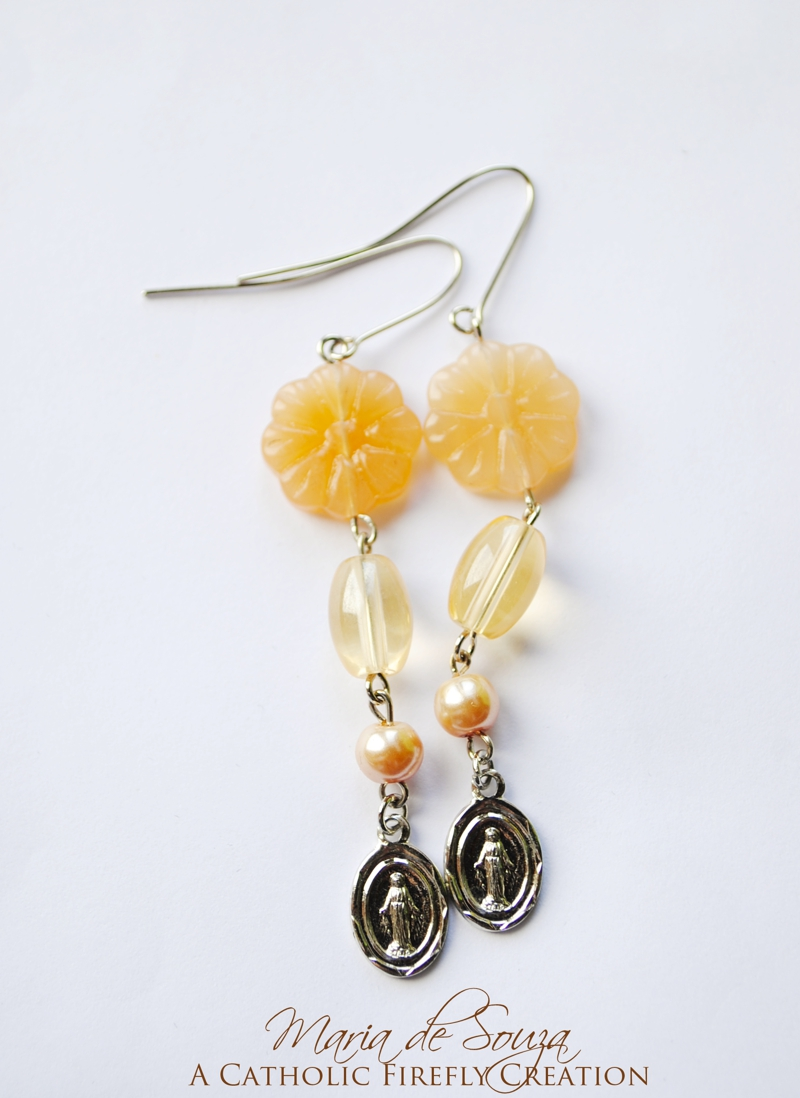 peachmiraculousmedalearrings