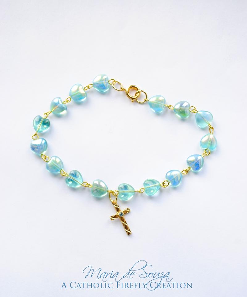 bluegoldglassholycrossbracelet