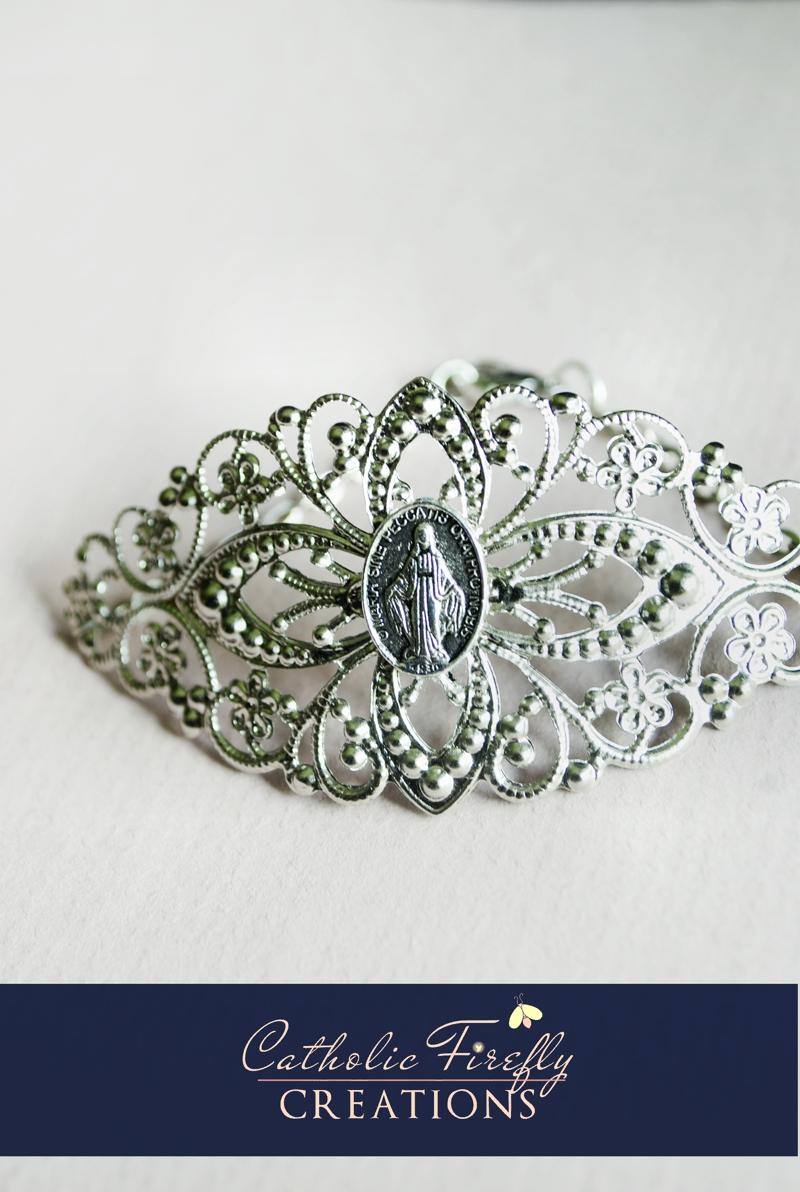 silvertintedmiraculousmedalcuffbracelet