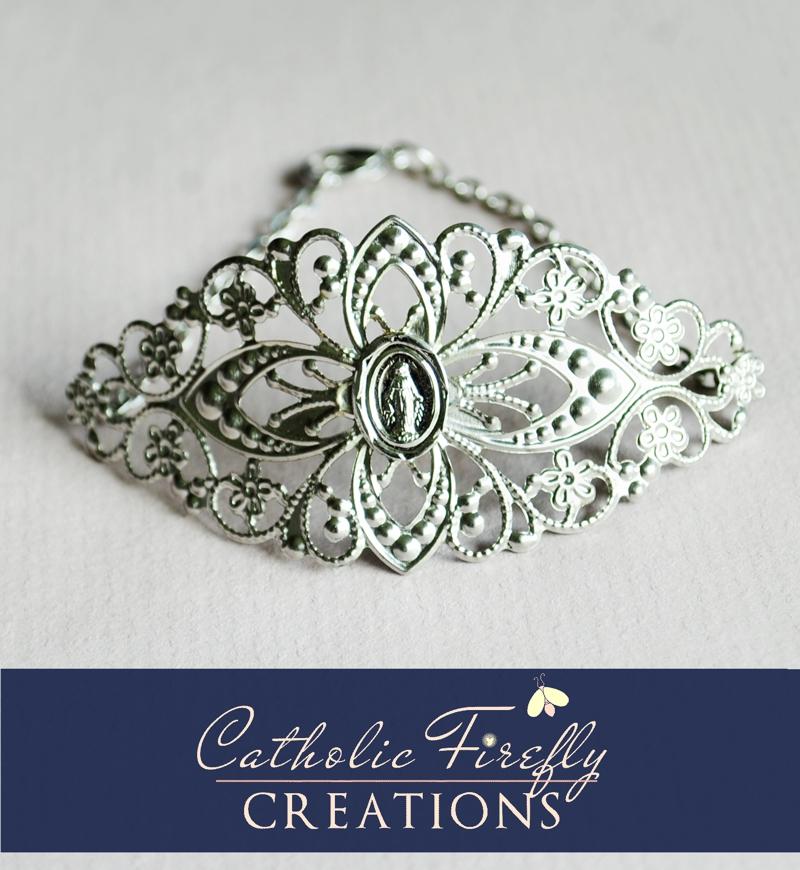 silvermiraculousmedalbracelet